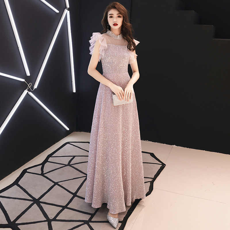 Stylish Slim Sexy Lace Sequins High Quality Dress Chinese Style Evening Dress Improved QipaoVestidos Size S-XXXL