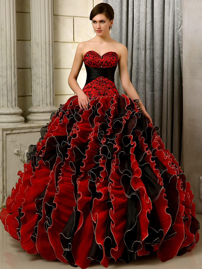 Online Buy Wholesale red black quinceanera dresses from ...