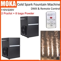 2 Pcs Lot With 8 Bags Powder DMX Remote Cold Spark Fountain Machine Indoor Firework Non