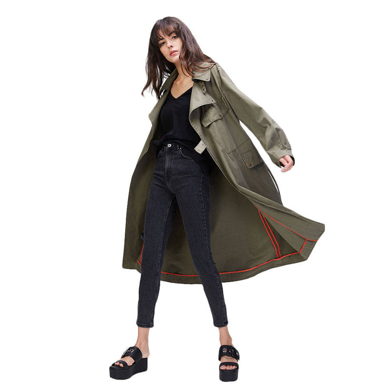 Femmes Vêtements Trench Lavé Avec Coat Coton Automne a Vintage Outwear Manteau Ceinture B Casual Militaire rsQCxhdBt