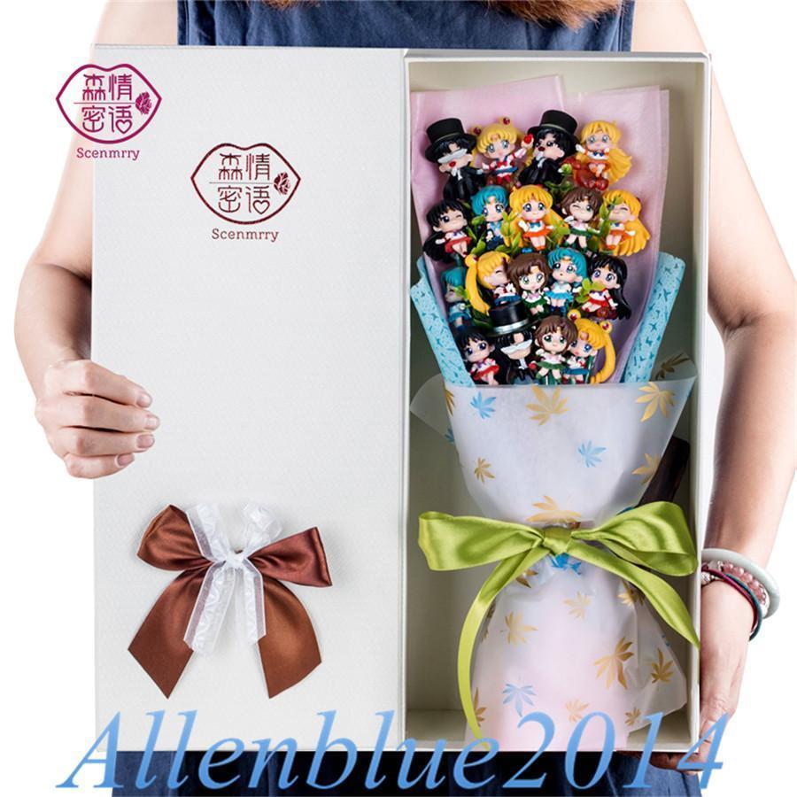 Anime Sailor Moon Cute Figure+Soap Flowers Present Birthday Xmas Gift Tsukino Usagi Chiba Mamoru Cospaly Props Toy Doll Box New denim