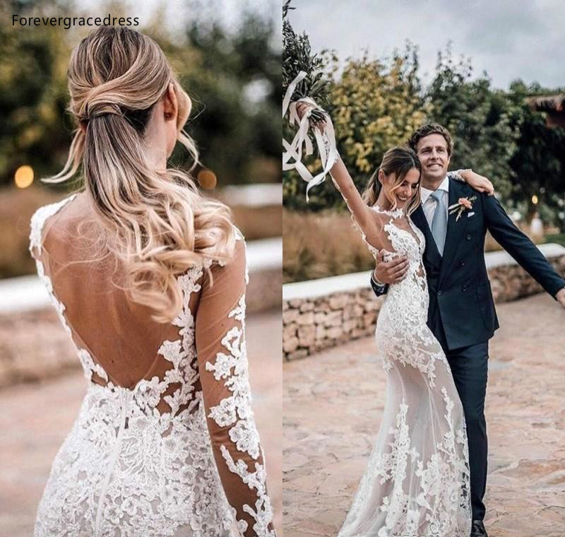 Mermaid Open Back Boho Wedding Dresses 2019 Long Sleeves Lace Country Garden Bride Bridal Gowns Plus Size Custom Made