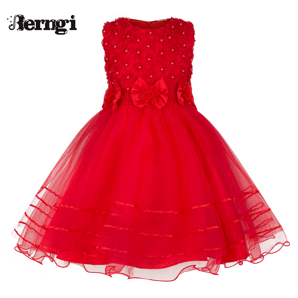 Berngi Girl Princess Dresses 2017 New Red Color Sleeveless Beading Party Dresses Girl Clothes 6 7 Years Children Clothing