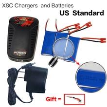 Free shipping Syma X8C X8W X8G Spare part RC Quadcopter 3x 7.4V 2000mAh Batteries + EU/US Plug balance Charger drone accessories
