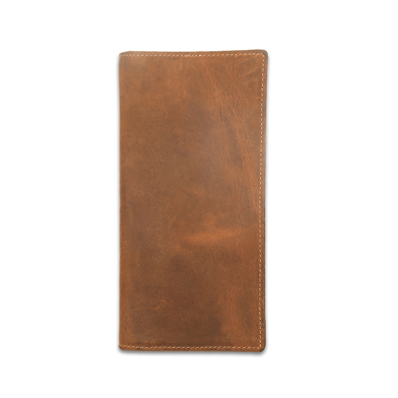 Famous Brand Vintage Crazy Horse Leather Men Wallet Thin Purse Money Holder Card Holder Solid Purse Long Wallet for Male Wallet