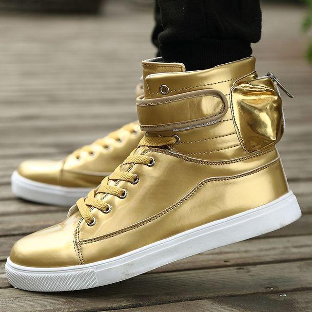 GOLD Color Hip Hop Justin Boots Men White Leather Dance Shoes Platform High  Men High Tops Sapatos Masculinos 398457c35