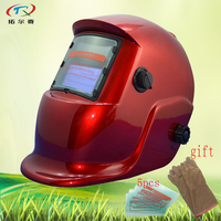Auto Darkening Welding Helmet with glass and gloves solar and battery all red welding mask face factory price HS03(2200DE)GY