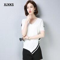 XJXKS 2019 Korean Style Summer V neck Knit T Shirt Women Short Sleeves Tee Shirt Female Campus T Shirt Solid Girl Tops