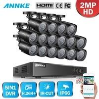 ANNKE 1080P H.264+ 16CH CCTV Camera DVR System 16pcs IP66 Waterproof 2.0MP Bullet Cameras Home Video Security CCTV Kit
