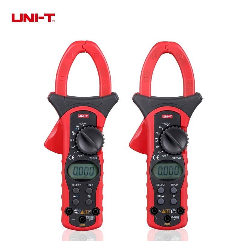 Unit UT205A UT206A Auto Range Digital Clamp Multimeters 1000A 600V Clamp Meter Ammeter Multitester Voltmeter with LCD Backlight in Clamp Meters from Tools