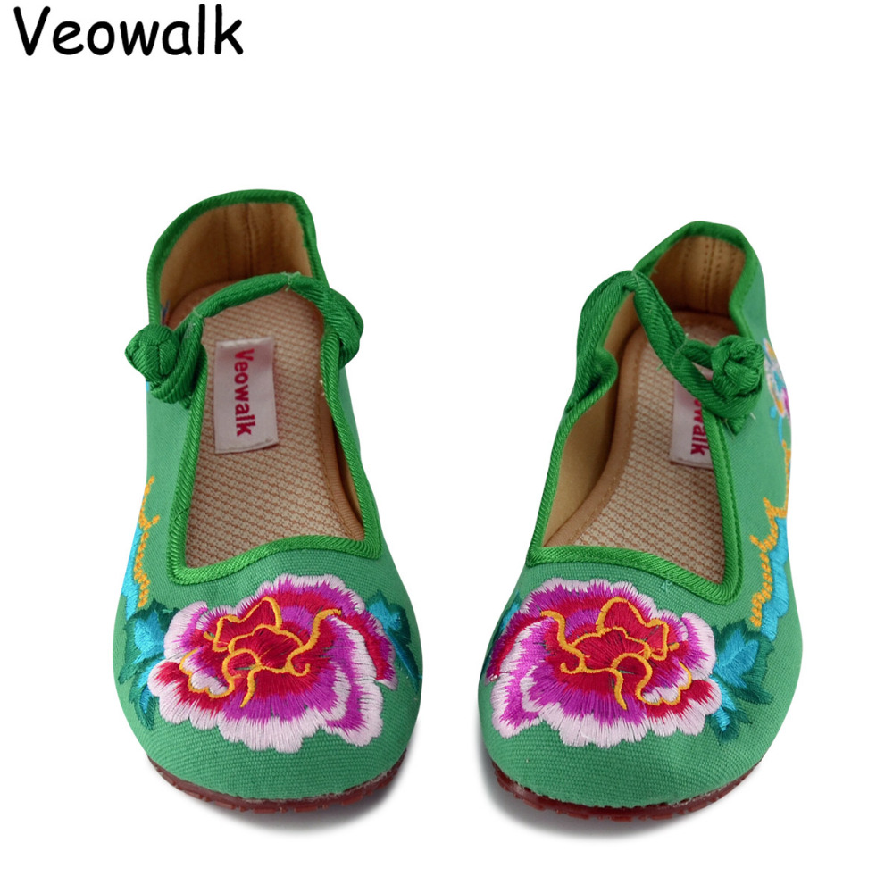 Veowalk Big Size 34-41 Spring New Fashion Shoes Woman,Women zapatos mujer Old Peking Flats Flower With Embroidery Soft Shoes vintage embroidery women flats chinese floral canvas embroidered shoes national old beijing cloth single dance soft flats