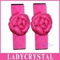 Ladycrystal 1 Par Pink Rose de La Flor Auto Cubierta Del Cinturón de seguridad Del Coche Lindo Cinturón de seguridad de Hombro Pad Coche Que Labra Traje Para Las Muchachas de Las Señoras