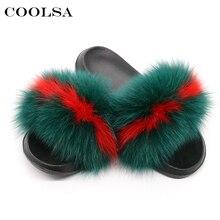 Coolsa Zapatillas de pelo de zorro Real para mujer, chanclas femeninas de interior, chaleco de piel de mapache informal, sandalias peludas de felpa