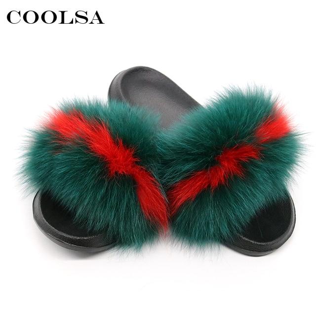 Coolsa קיץ נשים שועל פרווה נעלי בית אמיתי שועל שיער פרווה נשי שקופיות מקורה כפכפים מקרית חוף סנדלי פלאפי בפלאש נעליים