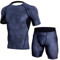 Bodybuilding 3D T Shirt Men MMA Fitness Compression Shirt Rashguard T Shirts Quick Dry 2 Piece