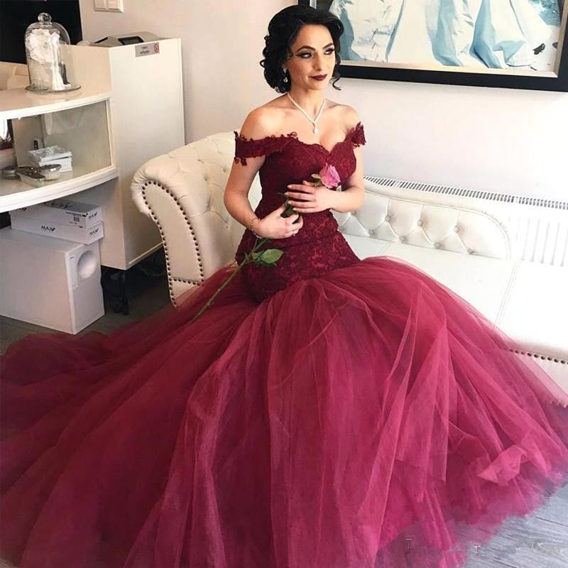 Burgundy Long Mermaid Prom Dresses 2019 Saudi Arabic Lace Prom Gowns Sexy Formal Dress Vestidos Longo