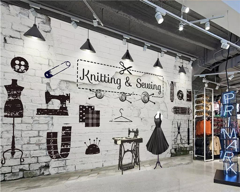Beibehang Wallpaper mural retro brick clothing store image wall background wall home decoration living room bedroom 3d wallpaper