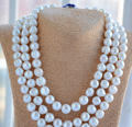 HOT N030 3strands 11-12mm almost round white screw thread freshwater pearl necklace