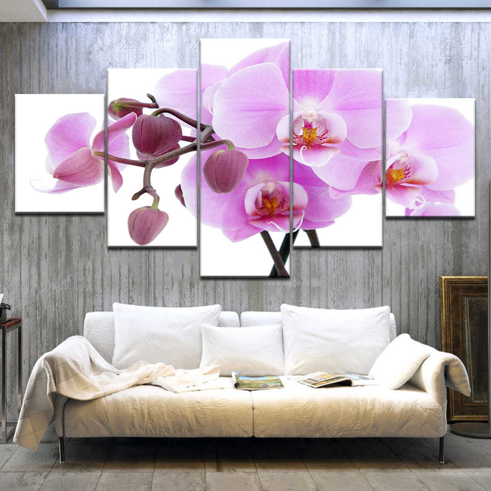 5pcs Print poster canvas Wall Art pink orchids Decoration art oil painting Modular pictures on the wall sitting room(no frame)