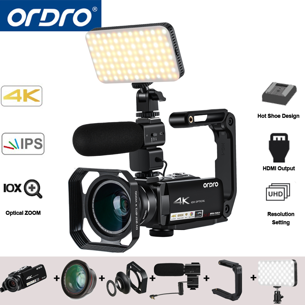 Ordro AC7 4 K UHD Numérique caméras vidéo Caméscopes FHD 24MP 120X Digtal Zoom 10X Optique WiFi IPS écran tactile DV mini caméscopes