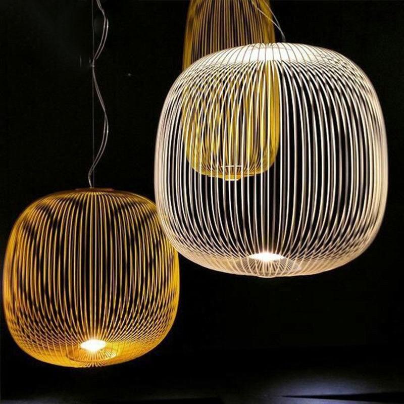 Modern Iron Line Lantern Pendant Lamp Suspension Simple White Gold Bar Handing Light New For Living Room Bar Kitchen Lights B023