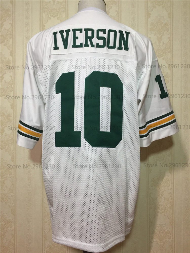 67727f312 BONJEAN Cheap Allen Iverson 10 Bethel High School Bruins White American  Football Jerseys Throwback Stitched Mens Jersey