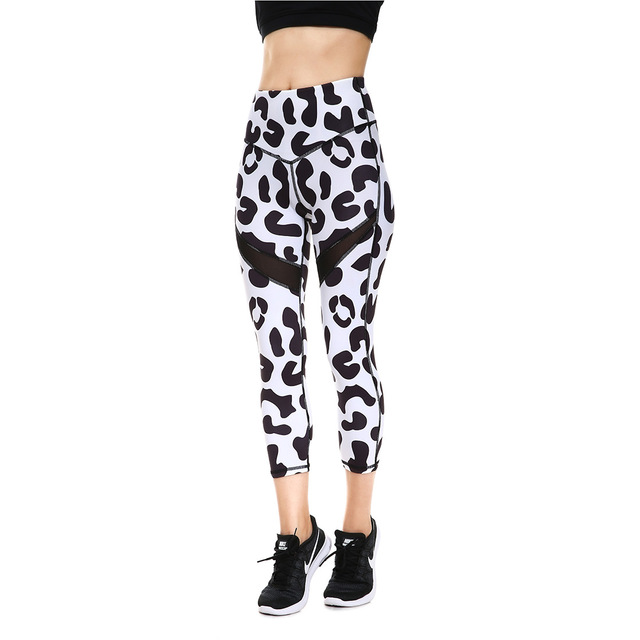 6e0bd4b107b7f JIGERJOGER 2018 Spring Summer double Mesh pannel black and white leopard  Capris Yoga shorts Leggings skinny tight workout shorts