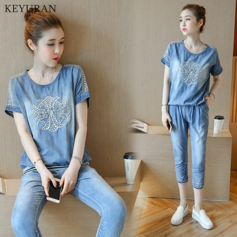 Summer Casual Tracksuit Denim Set Women Fashion Short Sleeve Rhinestone t Shirt + Jeans Suit Blue Plus Size 3XL L780