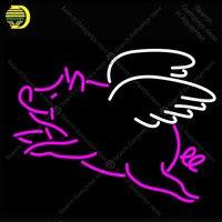Летающие Свиньи неоновая вывеска для организаций и магазинов стеклянная трубка ручной работы неоновый Световой значок Отдых номер знаковы