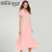 Meaneor Women Dress Summer Casual O Neck Short Sleeve Cold The Shoulder Solid Full Length Swing