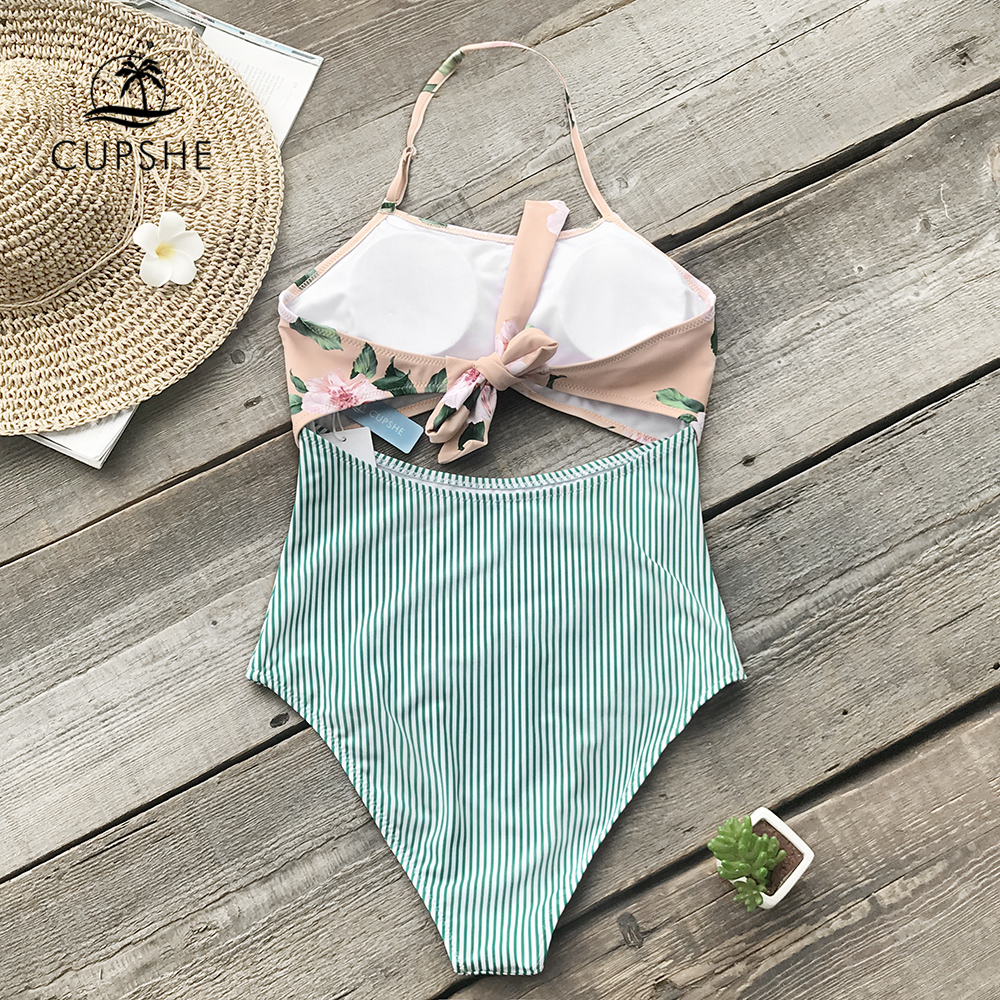80e327aed2845 CUPSHE Pink Floral And Green Striped Halter One piece Swimsuit Women Tied  Back Bow Cutout Monokini 2019 Boho Beach Bathing Suits-in Body Suits from  Sports ...