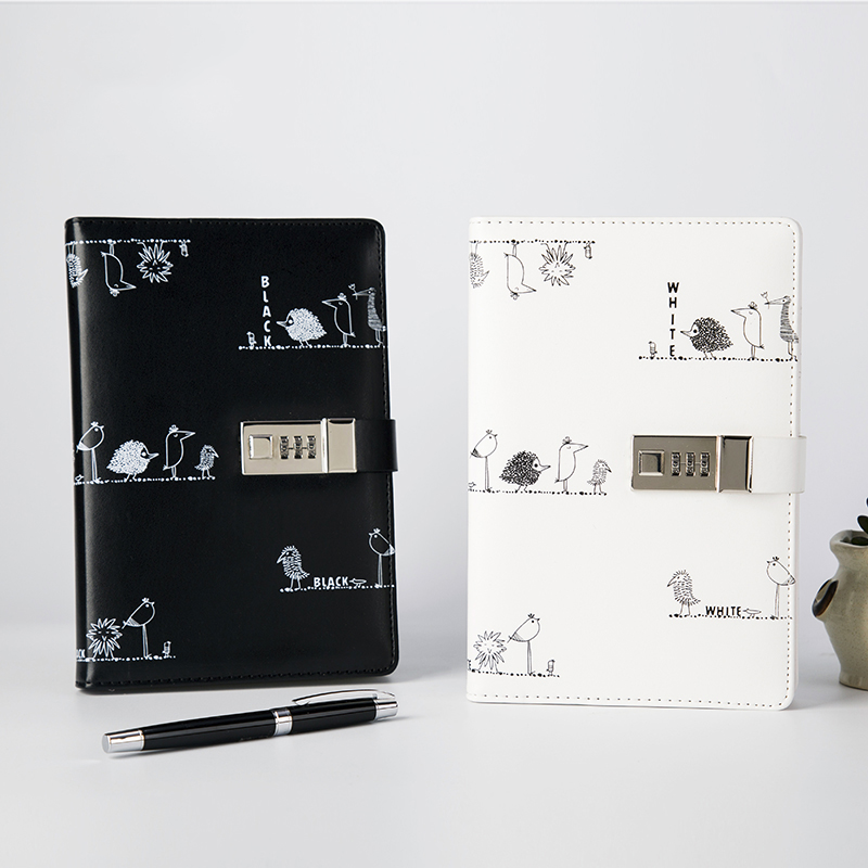 A5 Password Leather Notebook Diary Student Creative Sketchbook Notepad with Lock Lockable Planner School Office Supplies Gift