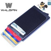 цена на Aluminum Automatical Slim Wallet With ID Card Holder Rfid Blocking Mini Wallet Automatic Credit Card Case Protector Drop Ship