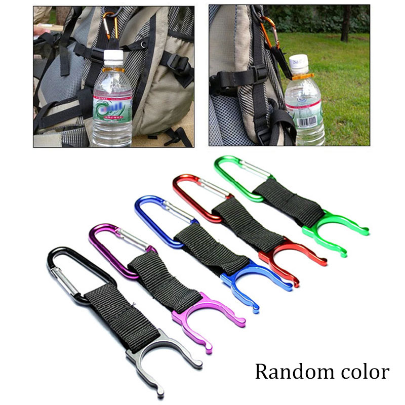 1pcs Camping Carabiner Water Bottle Buckle Hook Holder Clip For Camping Hiking Survival Traveling Tools Random Color