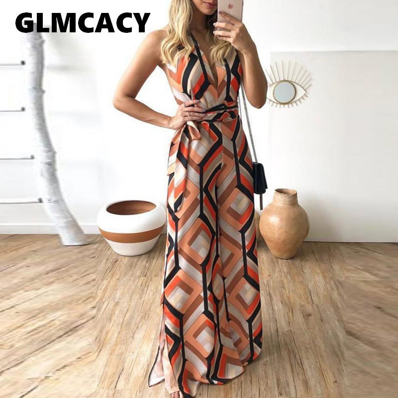 Women Geo Printed V Neck Wide Leg Pants   Jumpsuit   Sexy Sleeveless Party Long   Jumpsuit   Ladies Summer Beach Maxi Overalls