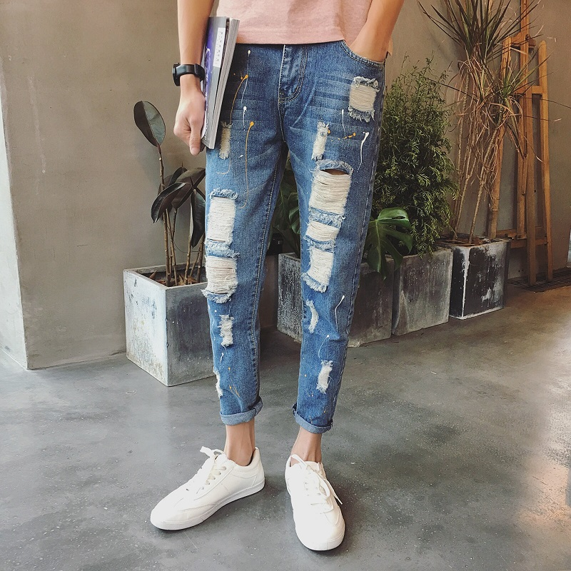 jeans men patchwork designer brands high quality patched jeans