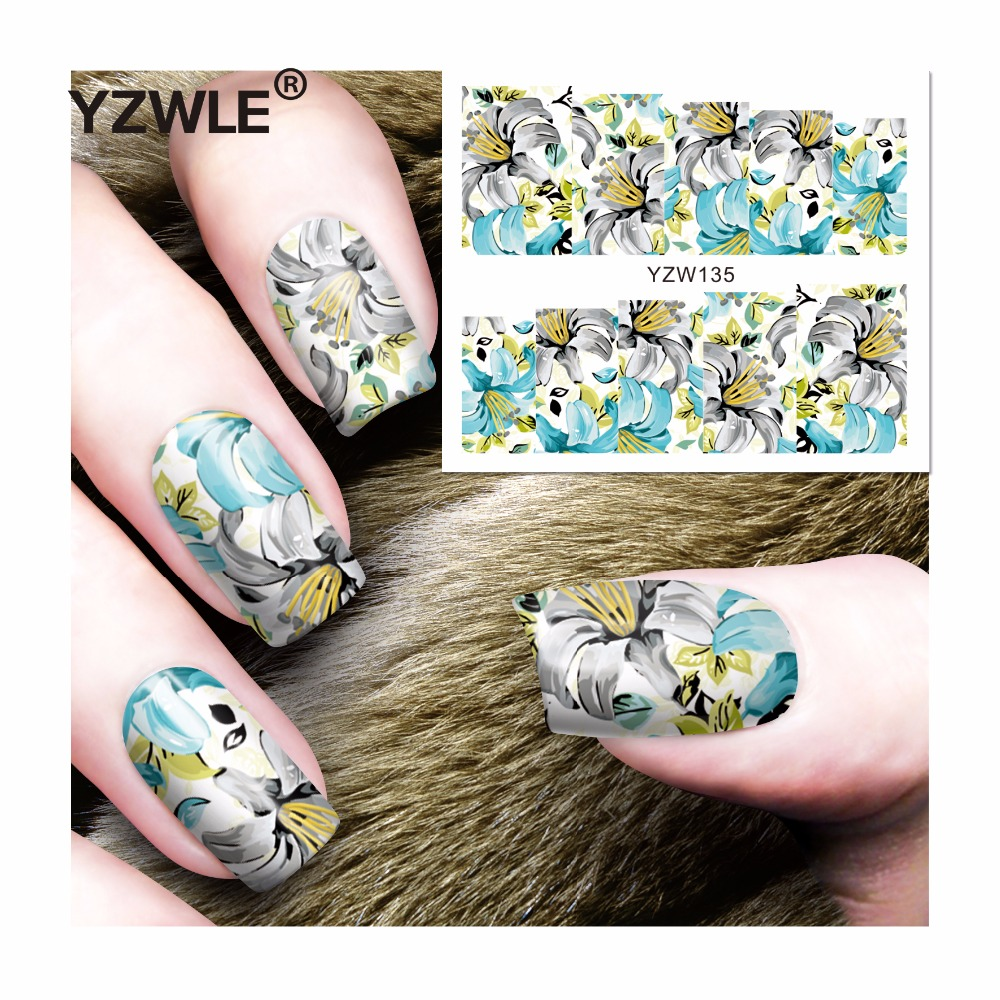 YZWLE 1 Sheet DIY Decals Nails Art Water Transfer Printing Stickers Accessories For Manicure Salon (YZW-135) 1 sheet beautiful nail water transfer stickers flower art decal decoration manicure tip design diy nail art accessories xf1408