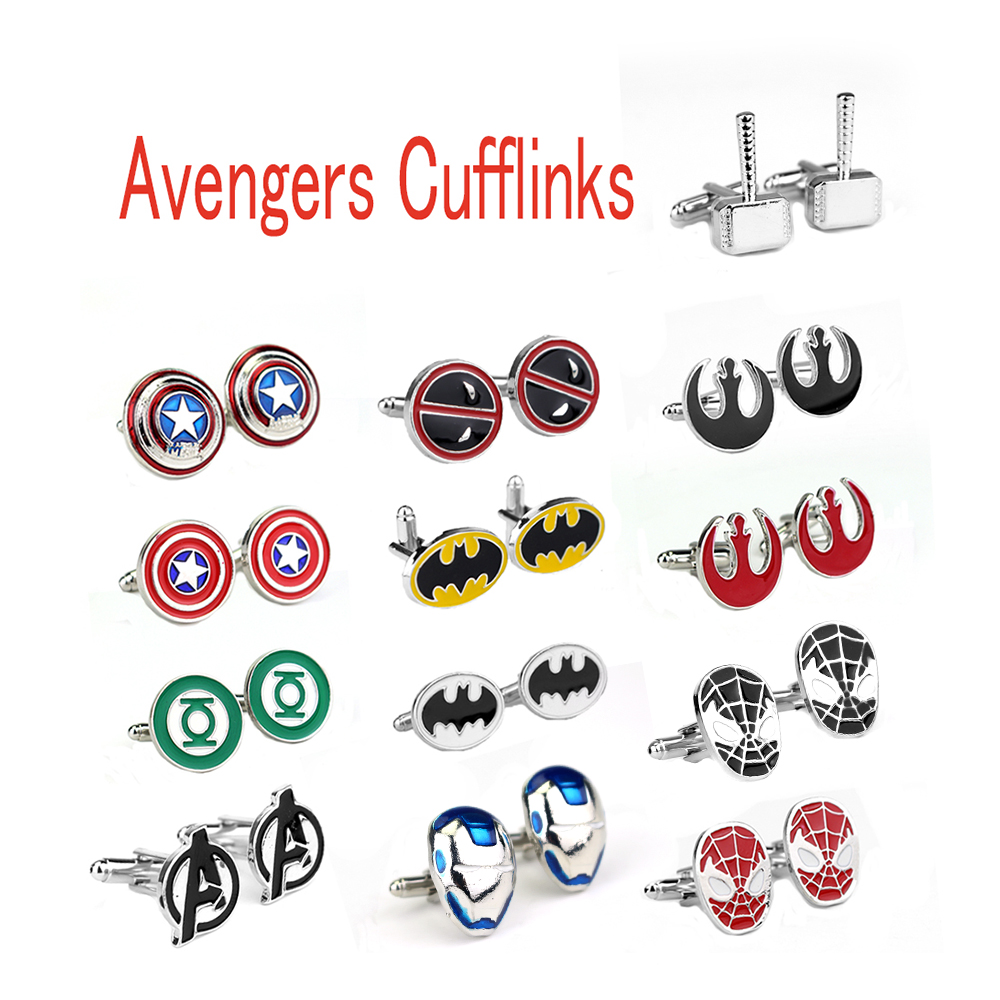Avengers Endgame Superman Cufflinks Captain America Thor Batman SpiderMan Deadpool Logo Tie Clips Men Party Shirt Jewelry