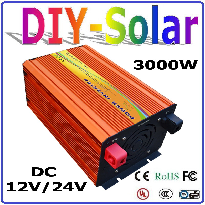 цена на 3000W off grid Pure Sine Wave Inverter 12V 24V DC to AC110V or 220V with 6000W Surge Power, Solar
