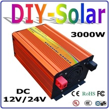 3000W off grid Pure Sine Wave Inverter 12V 24V DC to AC110V or 220V with 6000W Surge Power, Solar