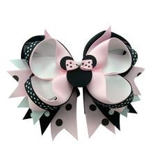 5 قطعة 4 بوصة الاطفال الوردي فيونكات شعر للأطفال العودة إلى المدرسة bowknot مقاطع الشعر الكرتون الفتيات خوذة إكسسوارات الشعر هدية
