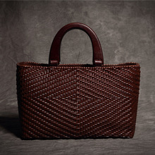 купить designer Genuine Cow Leather Handbags Ladies Casual knitting Solid Fashion tote Women Cross body messenger Bags bolsa feminina дешево