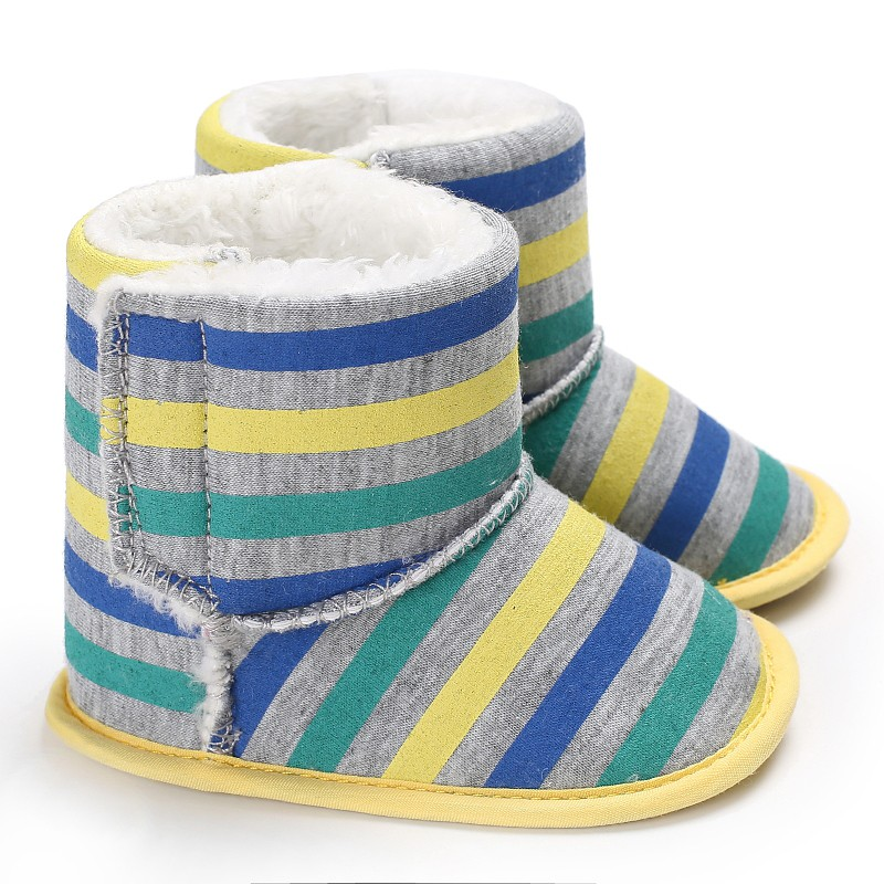 Newborn Baby Boys Girls Shoes Autumn Winter Crib Babe Kids First Walkers Stripped Infant Toddler Keep Warm Shoes