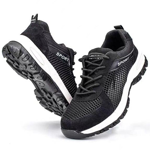 Для Мужчин's Сталь носком рабочие защитные ботинки, обувь; Воздухопроницаемый материал; Рабочая обувь анти-прокол противоскользящий дизайн Повседневное защитная обувь - Цвет: Black Style