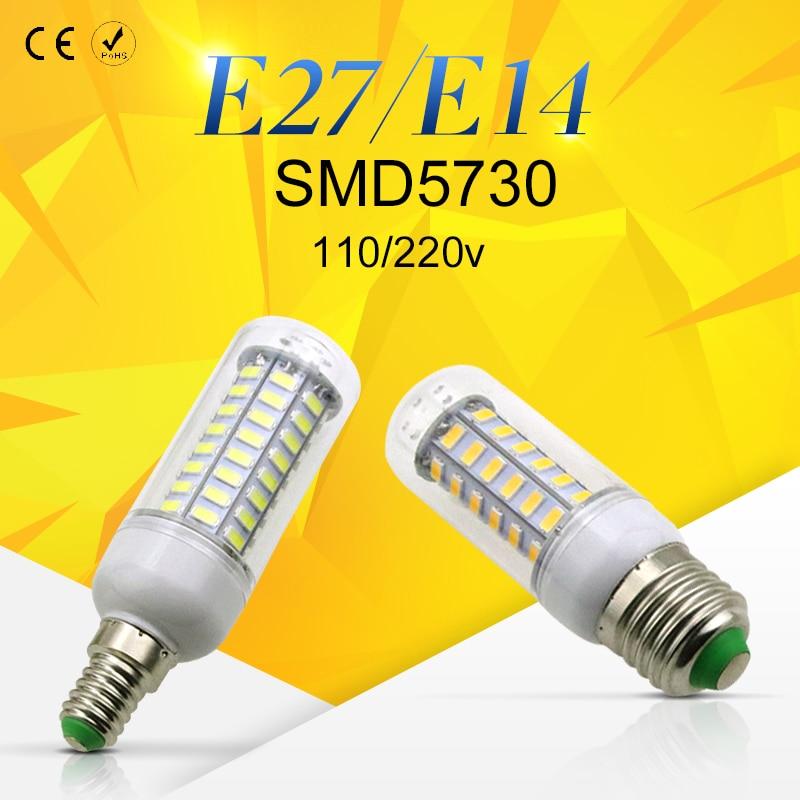 E27 LED Corn Bulb E14 No Flickering Smart IC LED Bulb SMD5730 AC220-240V 24 36 48 56 69 72leds Home Lighting Decoration Lamp