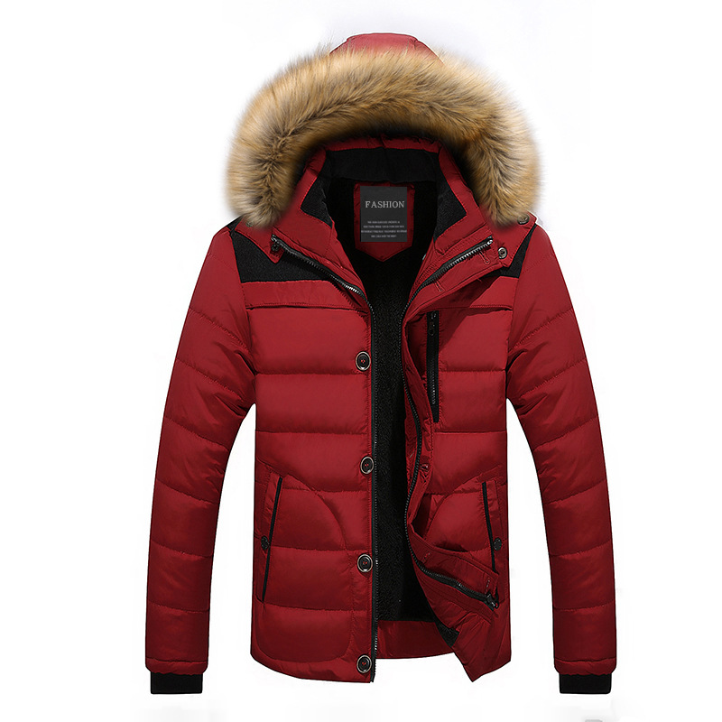 drop shipping men winter jackets with fur collar fashion keep warm   parka   homme LBZ11