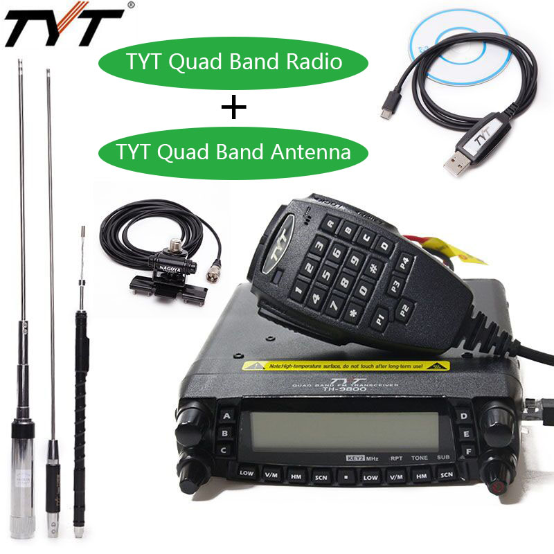 TYT TH-9800 Più Quad Band Auto Stazione Radio + Antenna/Cavo di 50 w Ricetrasmettitore TH9800 VHF UHF mobile Radio walkie talkie per auto