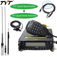 Tyt TH-9800 plus quad band estação de rádio do carro + antena/cabo 50 w transceptor th9800 vhf uhf rádio móvel walkie talkie para carro