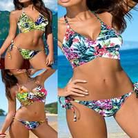 2017 Summer Sexy Women Low Waist Halter Bandage Bikini Set Flower Print Halter Swimsuit Padded Bra