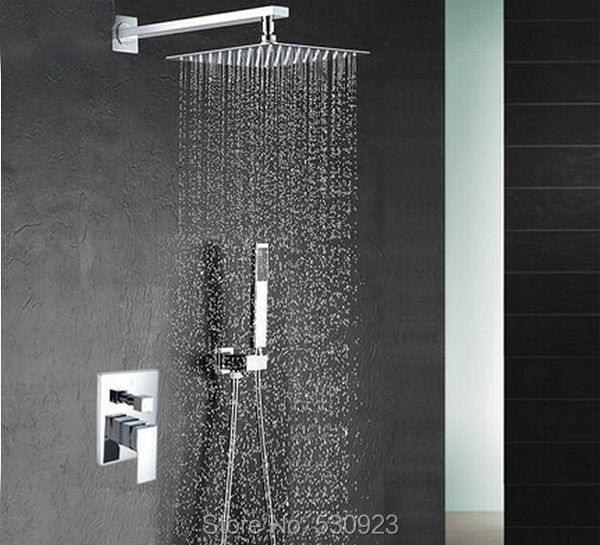 Newly Wall Mounted Bathroom Shower Faucet Set Chrome Finish Mixer Tap 4 Inch Shower Head W/ Brass Hand Shower Single Handle